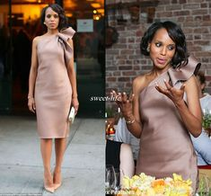 New Kerry Washington Celebrity Dress Bridesmaid Party Gowns One Shoulder Bow Satin Knee Length Sheath Dusty Blush Club Cocktail Dresses 2016 Beige Cocktail Dresses Brown Cocktail Dresses From Sweet Life, $64.9| Dhgate.Com