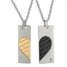 316L Titanium Steel Engraved Couple Necklace