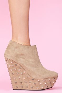 Studded Wedge Boot in Taupe