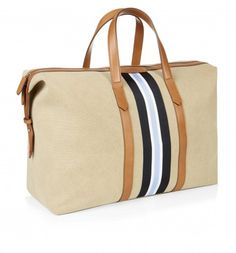Striped Canvas Leather Trim Holdall. Embossed Hackett London logo to leather trim. Perfect for a weekend getaway.