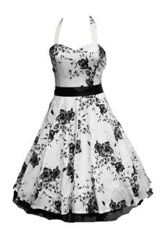 89. Black and White Floral Dress -------------- Key: Black, White, Dresses, Clothes