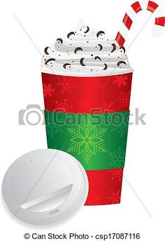 Christmas Espresso Drink To Go Cup with Lid Illustration Vector - stock illustration, royalty free illustrations, stock clip art icon, stock clipart icons, logo, line art, EPS picture, pictures, graphic, graphics, drawing, drawings, vector image, artwork, EPS vector art