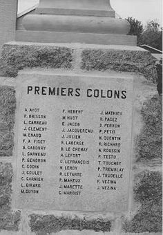 """Part of a memorial to the first French Colonists who settled around L'Ange-Gardien, Quebec, Canada which is located 10 miles northeast of Quebec City on the north side of the St. Lawrence Seaway. (Photo courtesy of Roussin.org) Note """"R. Brisson"""", he is my 8th grandfather."""