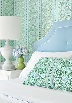 House of Turquoise: Trade Routes Collection from Thibaut House Of Turquoise, Blue Bedroom, Master Bedroom, Bedroom Decor, Preppy Bedroom, Decor Room, Do It Yourself Design, My Living Room, Beautiful Bedrooms