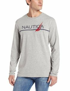 Nautica Men's Long Sleeve Branded T-Shirt [ #Branded, #Long, #Mens, #Nautica, #Sleeve, #TShirt ]