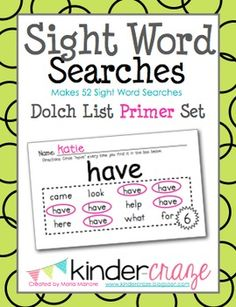 Sight Word Searches Dolch List Primer Set, 54 word searches for $9.50
