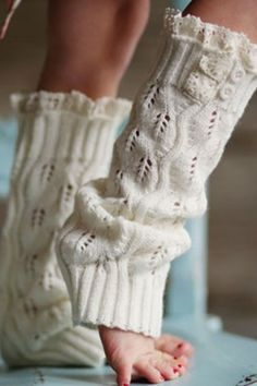 Pin Girl's Crochet Boot Cuffs Toppers Leg Warmers Off White
