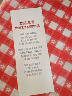 1st birthday time capsule poem - Google Search
