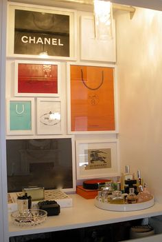 Framed shopping bags for your walk in closet decor, or laundry room. I have a bunch of Turkish shopping bags I so want to do this with them! Framed Shopping Bags, Nice Shopping, Paris Shopping, Vanity Area, Vanity Room, Decoration Inspiration, Decor Ideas, Ideias Diy, Deco Design