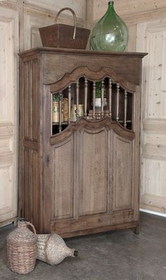"Antique Country French Kitchen Cabinet.  Long before the days of ""built-ins"", the French used cabinets such as this in the kitchen.  Called a garde manger, this is where they would store their food. Country French decorating ideas."