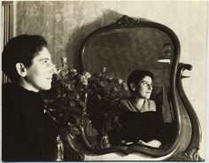 Young Man or Woman Poses with Mirror for Self Portrait | eBay