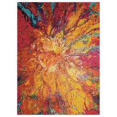 Nourison Celestial Abstract Colorful Area Rug (Red/Gold x Yellow Rug, Yellow Area Rugs, Orange Area Rug, Yellow Rooms, Bright Yellow, Contemporary Area Rugs, Red Rugs, Saturated Color, Claude Monet