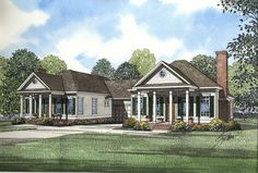 Southern Traditional Duplex Home Plan - 59320ND | 1st Floor Master Suite, CAD Available, Den-Office-Library-Study, PDF | Architectural Designs
