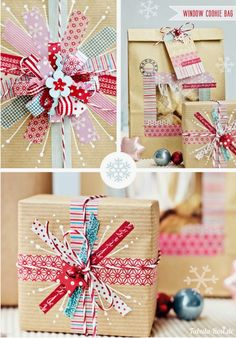 Love this idea for washi tape Christmas gift wrap ... beautiful!