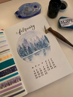 Got my cover page done just in time! Not into VDay, but Feb is freezing here so a winter theme seemed in order (: : bulletjournal Bullet Journal 2020, Bullet Journal Spread, Bullet Journal Inspiration, Bullet Journal Design Ideas, Bullet Journal Themes, Bullet Journals, Journal Ideas, Bullet Journal Watercolour, Journal Covers