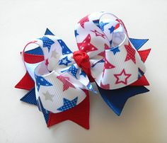 4th of July Hair Bow - Red White and Blue Stars - Medium Twisted Boutique Spike Bow