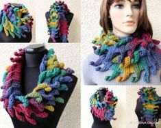 Easy crochet scarf pattern with detailed step-by-step written instructions in English, U. crochet terms, a lot of photos for your convenience. Crochet Infinity Scarf Pattern, Crochet Flower Patterns, Crochet Designs, Crochet Unique, Beautiful Crochet, Easy Crochet, Crochet Ruffle, Ruffle Scarf, Crochet Neck Warmer