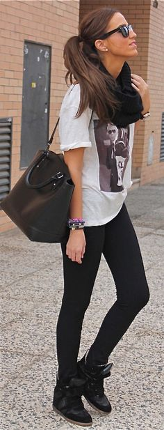 Street style wear sneaker edges right, oversized white tee, black leggings, sunbird, big black hand bag purse, stacked bracelets and infinity cowl scarf