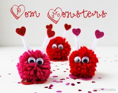 These cute and fluffy Valentine Pom Monsters are too cute to be scary!