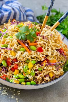 This easy Asian noodle salad recipe is ramen noodles and colorful veggies all tossed in a sesame hoisin dressing.
