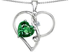 Star K 10mm Heart-Shaped Simulated Emerald Knotted Pendant Necklace Sterling Silver. Finejewelers is a US company based in New York. 925 Sterling Silver. Star K. Designs are exclusive and protected by Copyright Laws. 18 inch Chain in a matching metal will be included. Lifetime Warranty exclusively offered by Finejewelers.
