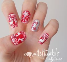 Christmas nail art   Inspired by those weird christmas sweaters