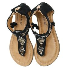 Levia-42K Kid's Black Rhinestone Detail Zipper Back Sandals