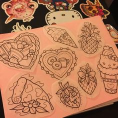 Kawaii fruits tattoo flash