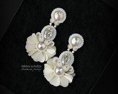 Unique Earrings, Diy Earrings, Tassel Earrings, Diamond Earrings, Fabric Jewelry, Boho Jewelry, Jewelery, Shibori, Soutache Necklace
