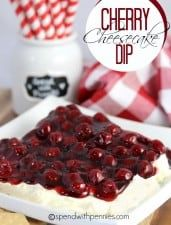 Cherry Cheesecake Dip!  This dip is so addicting...  you won't believe how quick it is to make and how delicious it tastes!