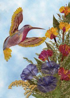 ACEO art print Hummingbird Pressed Flower Art Real Flower Artwork Mixed Media Oshibana Floral Art