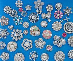 100 mélanger strass boutons - en vrac en gros boutons - or cristal argent strass perle émail main-talon tige métallique boutons un lot
