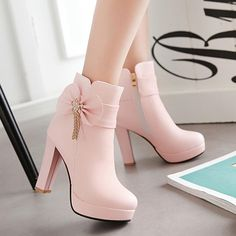 Nordstrom Heels - New Women Pink Round Toe Chunky Bow Fashion Martin Boots Find . - Nordstrom Heels – New Women Pink Round Toe Chunky Bow Fashion Martin Boots Find More Ideas at myc - High Heels Boots, Black High Heels, Heeled Boots, Shoe Boots, Light Pink High Heels, Cute Shoes Heels, Boot Heels, Platform Ankle Boots, Pump Shoes