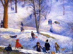 Traîneau, Central Park, huile sur toile de William James Glackens (1870-1938, United States)