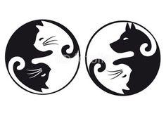 Yin yang cat and dog, vector set