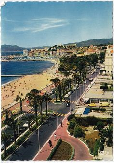 The croisette - The old harbour and suquet. Cannes, FRANCE.