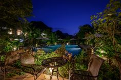 Night view of poolside