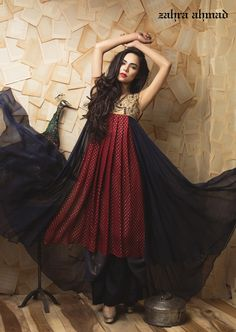 Pakistani Designer Dresses - Lowest Prices - Zahra Ahmad Red and Purple Formal Dress, Ready to Wear UK £145 - Latest Pakistani Fashion www.iluvdesigner.com