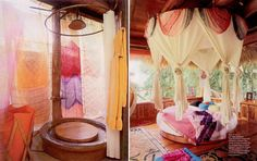 Bathroom and bedroom from a private residence in Bali.  { all images scanned from Cookie Dec 07/jan 08, photography by Pieter Estersohn }