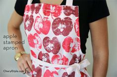 Easy and affordable apple stamped apron.  Cheryl Style