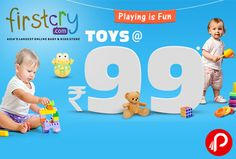 Firstcry Playing is Fun is offering Toys @ Rs.99. Offer ends tonight (14th March), valid on select toys,1 product per user. Firstcry Coupon Code – PLAY99  http://www.paisebachaoindia.com/toys-rs-99-playing-is-fun-firstcry/