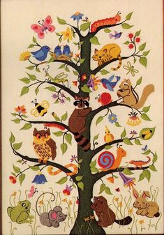 Vintage 1981 Tree of Life Crewel Embroidery by allsfairyvintage