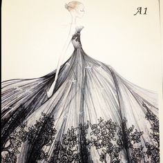 A design studio sketch from the Couture atelier in Rome
