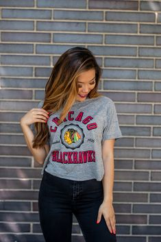 Shop this new arrival today at the Blackhawks Store at 333 N Michigan Avenue. Can't make the trip? Give us a call at to place an order over the ☎️. Blackhawks Store, Crop Tee, Autumn Summer, Michigan, Brand New, Lady, Tees, Shopping, Women