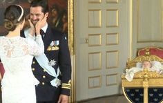A tender moment between Princess Sofia and Prince Carl Philip of Sweden after the christening of their son Prince Alexander. Stockholm. September 16 2016
