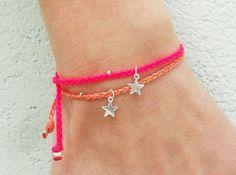 Tiny star bracelet - friendship bracelets in waxed nylon cord