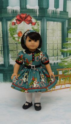 Snow Ride vintage style dress for American Girl by cupcakecutiepie
