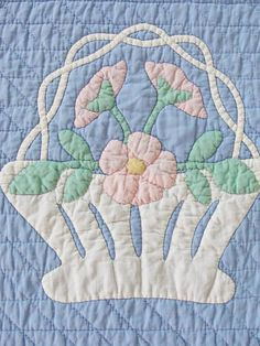 Vintage 1920s French Baskets Applique QUILT in Blue from vintageblessings on Ruby Lane Vintageblessings