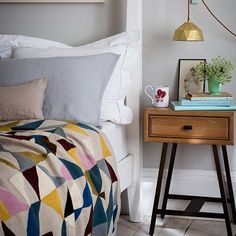 Soft grey bedroom with geometric bed throw | Bedroom decorating | Homes & Gardens | Housetohome.co.uk