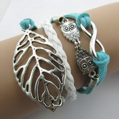 B066 Retro owl wild leaves multilayer Leather Bracelet 8 characters B5 € 1,47